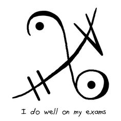 """""""I do well on my exams"""" sigil witchysigils Challenge Day 12: Write a sigil for an extra boost of luck on your tests/quizzes/exams."""