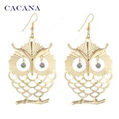 Cacana 귀걸이 매달려 긴 귀걸이 아름다운 올빼미 빛나는 눈 보석류 뜨거운 판매 없음. a445