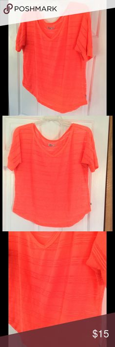 Hollister Neon Orange Slub Tee Super great top! Bright coloring and versatile for active of casual wear . Hollister Tops