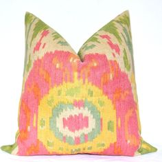 Set of Two - Beautiful Decorative Pillows - Suzani - Ikat Print - On Both Sides - 17x17 inch - Pink - Green - Throw Pillows - Toss Pillows