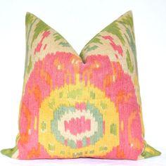 Set of Two - Beautiful Decorative Pillows - Suzani - Ikat Print - On Both Sides - 17x17 inch - Pink - Green - Throw Pillows - Toss Pillows