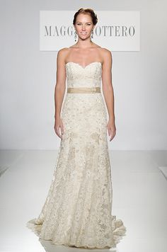 Strapless lace wedding dress by Maggie Sottero, Spring 2014