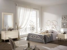Modern traditional bedroom in light colors and abstract bed backboard