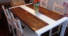 Fabricado a mano en madera reciclada y mesa de comedor acero