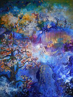 """""""A l'ombre du cerisier en fleurs"""" est une œuvre de grand format où le ciel et la terre se mêlent comme dans un rêve. Le paysage possède ainsi des accents fantastiques. En effet un univers particulier se dégage où une jeune fille, son ombre ou son âme fait corps avec la nature environnante (elle se confond avec le ciel et le soleil illumine ses cheveux). Elle est à l'abri d'un cerisier en fleurs...en réalité en observant longuement ce tableau, on peut s'imaginer toutes sortes d'histoires..."""