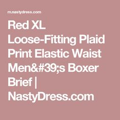 Red XL Loose-Fitting Plaid Print Elastic Waist Men's Boxer Brief   NastyDress.com