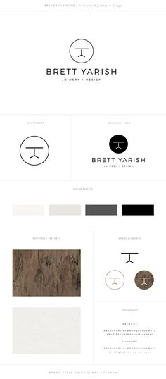 Brett Yarish Joinery + Design   Woodwork Brand by Mel Volkman   Modern Brand, Brand Style Guide, Wood Texture, Wood Monogram, Modern Logo, Logo Variations, Nature and Wood Brand, Custom Logo Design, Custom Branding, Modern Design