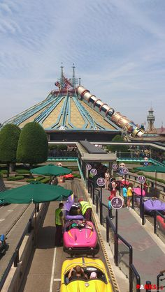 A view of Autopia and Space mountain in Discoveryland, Disneyland Paris. Disney DLP DLRP Jules Verne ride attraction