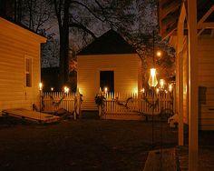Farm house at night.
