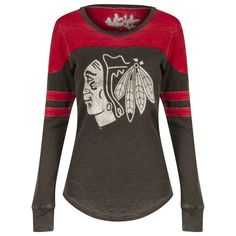 080a8ee5c Chicago Blackhawks Black and Red Primary Logo Striped Thermal Long Sleeve  Shirt