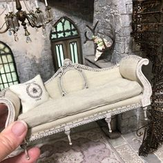 Miniature Sofa made from scratch. #dollhouse #dollhouseminiatures #shabbychic #dollhousefurniture #miniaturefurniture #miniaturesofa #madefromscratch