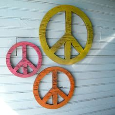 Wooden Peace Symbols Give Peace a Chance Set of Three