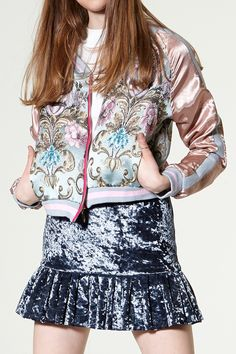 Eva Embroidery Bomber Jacket Discover the latest fashion trends online at storets.com