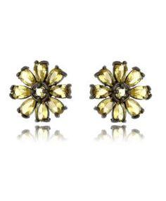brinco de flor amarelo com banho de rodio negro semi joias finas