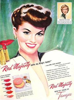 Retro Makeup Tangee Lipstick ad, May vintage 1940s Makeup, Vintage Makeup Ads, Retro Makeup, Vintage Ads, Vintage Soul, Vintage Vanity, Vintage Posters, Vintage Glamour, Vintage Beauty