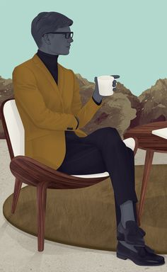 Jack Hughes - What a find! I love how he uses Mid Century Modern furniture like the Hans J Wegner Shell Chair in this illustration.