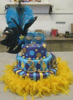 Mardi Gras cake for a co-worker's birthday party. Masquerade Cakes, Masquerade Party, Mardi Gras Beads, Mardi Gras Party, Gorgeous Cakes, Amazing Cakes, Grass Cake, Quinceanera Cakes, Quinceanera Ideas