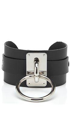 Black Leather Choker Collar With Nickel Hardware by Zana Bayne