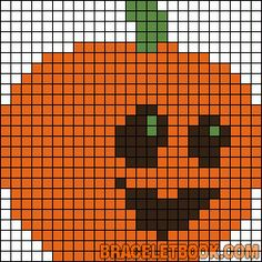 Halloween pumpkin perler bead across Fuse Bead Patterns, Perler Patterns, Beading Patterns, Embroidery Patterns, Cross Stitch Patterns, Quilt Patterns, Halloween Beads, Halloween Crochet, Halloween Patterns