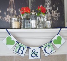 wedding banner, banners, bridal shower, decorations, bridal shower decor, wedding banners Personalized Initials wedding bride to be banner by lolaandcompany, $13.00