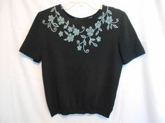 Alfred Dunner Black Top with Floral Embroidery Size S Rayon Nylon #AlfredDunner #ScoopNeck #Work