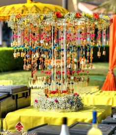 Mehendi decor idea with pompom prop
