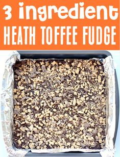Fudge Recipes with Condensed Milk: Heath Toffee Bits Fudge Recipe! This crunchy chocolatey toffee treat is what dessert dreams are made of! Plus, with just 3 ingredients, it's one of the EASIEST desserts you'll ever make! Go grab the recipe & give it a try! Toffee Fudge Recipe, Toffee Bits Recipe, Caramel Fudge, Fudge Recipes, Sweets Recipes, Candy Recipes, Heath Desserts, Cookie Desserts, Fun Desserts