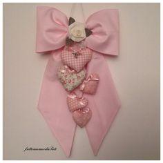 Fiocco nascita in piquet di cotone rosa con cuori imbottitti , by fattoamanodaTati, su misshobby.com
