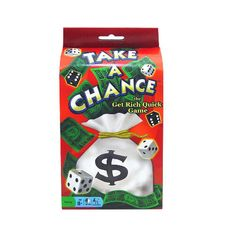 Take a Chance Card Game: Each card pictures a dice roll that pays off big time. The catch is, you need to own cards of several colors to be able to roll a lot of dice. Big money is won on the most expensive cards where many dice are needed to score, but you can still hit the jackpot with the cheaper cards by owning several.  $11.99  http://www.calendars.com/Dice-Games/Take-a-Chance-Card-Game/prod201100008021/?categoryId=cat490030=cat490030#