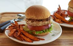 Spicy Chicken Burger with Sweet Potato Fries | Recipe
