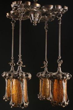 Art Nouveau bronze and amber chandelier, ca. 1900