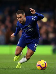 Eden Hazard of Chelsea during the Premier League match between Chelsea FC and Leicester City at Stamford Bridge on December 2018 in London, United Kingdom. Get premium, high resolution news photos at Getty Images Eden Hazard Chelsea, Cristiano Ronaldo Lionel Messi, European Soccer, Stamford Bridge, Football Wallpaper, Premier League Matches, Chelsea Fc, Tottenham Hotspur, Liverpool Fc