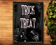 Trick Or Treat Print Halloween Printable Trick Or Treat Trick R Treat, Halloween Printable, Halloween Prints, Etsy Handmade, Printable Wall Art, Art Boards, Canvas Wall Art, Framed Prints, Printables