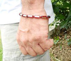 Mens bracelet red & silver by JewelrybyDecember67 on Etsy, $32.00