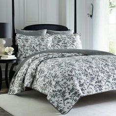 Laura Ashley Reversible Black Floral Cotton Quilt Set - King New. Sleep soundly in the comfort of this quilt set by Laura Ashley. Includes: One Quilt and Two Shams. King Quilt Sets, Queen Quilt, Laura Ashley Amberley Quilt, Quilt Pattern, Laura Ashley Home, Ruffle Bedding, Coverlet Bedding, Twin Quilt, Bed Sets
