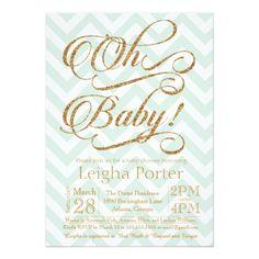 Glitter Baby Shower Invitation Gold Mint Chevron