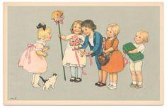 Signed Marie Flatscher - Friends Give Gifts to Little Girl & her Kitten