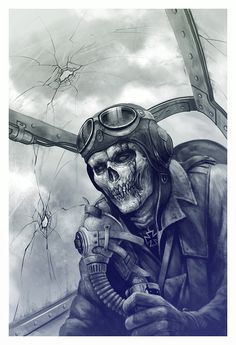 Art by Kazimirov Dmitriy by annabelle War Tattoo, Totenkopf Tattoos, Skeleton Art, Desenho Tattoo, Airbrush Art, Nose Art, Aviation Art, Grim Reaper, Skull And Bones