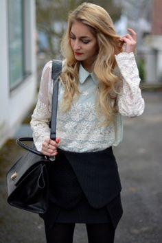mint floral lace top