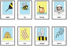* Bijen: stempel-woordkaarten