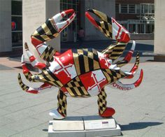 Maryland is known for crabs as depicted here with the MD. flag formed into the shape of  a crab!