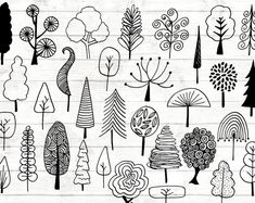 Your place to buy and sell all things handmade Tree Doodles Clipart - 32 Hand Drawn Tree Cliparts - Tree Logo Art - Botanical Logo Elements - botanical Illustration - . House Illustration, Botanical Illustration, Girl Illustrations, Dragonfly Illustration, Logo Arbol, Logo D'art, Logo Type, Leaf Drawing, Drawing Flowers