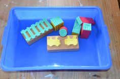 Train stamping set - homemade with wooden blocks & sponges