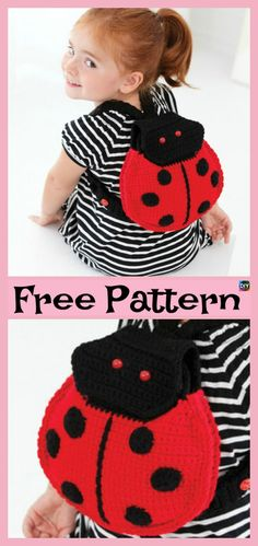 Adorable Crochet Lady Bug Project – Free Patterns #freecrochetpatterns #giftidea #backbag #dress #hat #ladybug