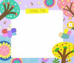 일러스트/페인터/봄/백그라운드/프레임/사람없음/패턴/무늬/나무/벌/카피스페이스/ Borders For Paper, Borders And Frames, School Border, Diy And Crafts, Crafts For Kids, Reading Words, Frame Clipart, Aesthetic Stickers, Page Design