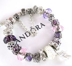 Authentic Pandora Bracelet, with Murano, Mixed Charms, Or Euro Style Bracelet, with Murano, Mixed Charms PL450 by RobinsNestJewels on Etsy