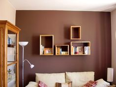 living room by hippyxic - DECOmyplace Projects Interior Architecture, Interior Design, Box Shelves, Housekeeping, Floating Shelves, Living Room, Decoration, Projects, Handmade