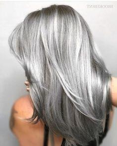 Ash Grey Hair, Brown Ombre Hair, Grey Wig, Silver Grey Hair, Ombre Hair Color, Cool Hair Color, Gray Hair Colors, Long Grey Hair, Hair Color Gray Silver