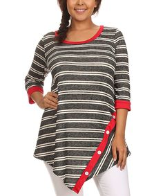 J-Mode USA Los Angeles Gray & Red Button-Accent Tunic - Plus by J-Mode USA Los Angeles #zulily #zulilyfinds