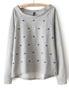 Grey Long Sleeve Elephant Embroidery Sweatshirt US$22.46